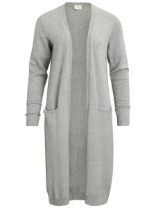 Vila viril long knit vest light grey melange €34,99