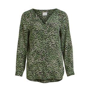 Vila vilucy blouse leopard groen €39,99